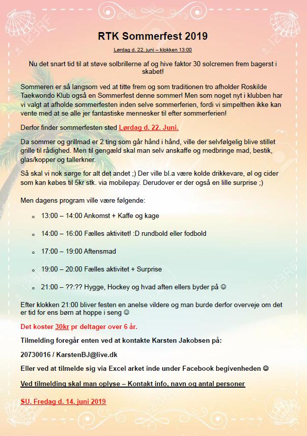 Sommerfest i RTK Lørdag d. 22 Juni